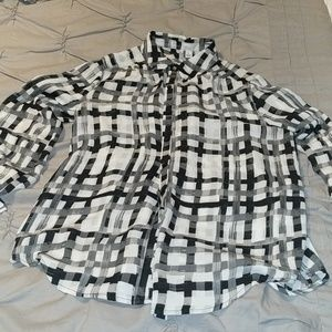 Black and white checker blouse